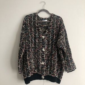 Chunky cardigan with sparkly strands